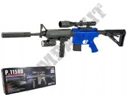 P1158 BB Gun M16 Replica Spring Airsoft Rifle 2 Tone Blue Black